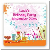 Pottery Painting - Square Personalized Birthday Party Sticker Labels