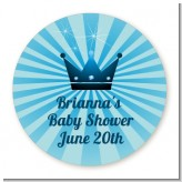 Prince Royal Crown - Round Personalized Baby Shower Sticker Labels