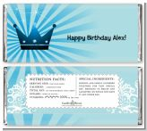 Prince Royal Crown - Personalized Birthday Party Candy Bar Wrappers