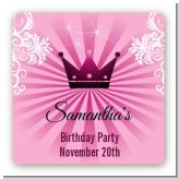 Princess Royal Crown - Square Personalized Baby Shower Sticker Labels