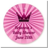 Princess Royal Crown - Round Personalized Baby Shower Sticker Labels
