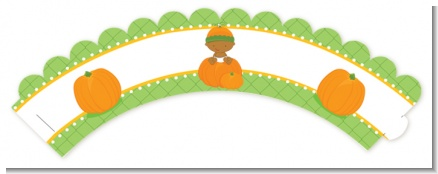 Pumpkin Baby African American - Baby Shower Cupcake Wrappers