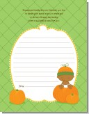 Pumpkin Baby African American - Baby Shower Notes of Advice