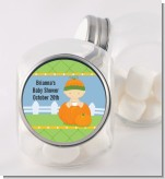 Pumpkin Baby Caucasian - Personalized Baby Shower Candy Jar
