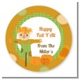 Pumpkin Patch Scarecrow Fall Theme - Round Personalized Halloween Sticker Labels thumbnail