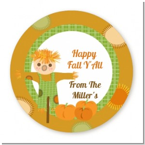 Pumpkin Patch Scarecrow Fall Theme - Round Personalized Halloween Sticker Labels