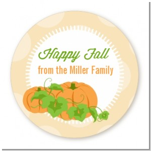 Pumpkin Trio Fall Theme - Round Personalized Halloween Sticker Labels