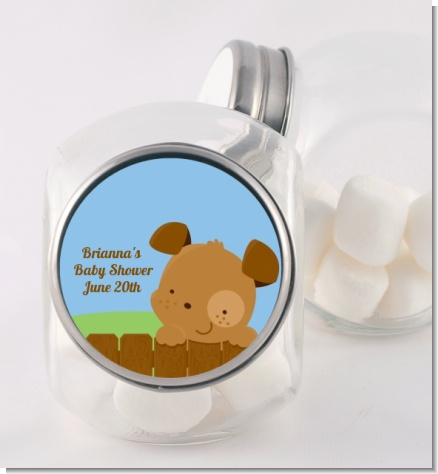 Puppy Dog Tails Boy - Personalized Baby Shower Candy Jar