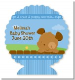 Puppy Dog Tails Boy - Personalized Baby Shower Centerpiece Stand