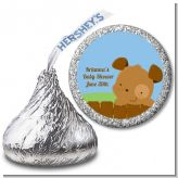 Puppy Dog Tails Boy - Hershey Kiss Baby Shower Sticker Labels