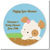Puppy Dog Tails Girl - Round Personalized Baby Shower Sticker Labels