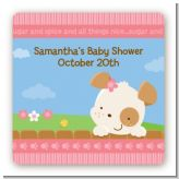 Puppy Dog Tails Girl - Square Personalized Baby Shower Sticker Labels