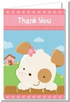 Puppy Dog Tails Girl - Baby Shower Thank You Cards