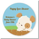 Puppy Dog Tails Neutral - Round Personalized Baby Shower Sticker Labels