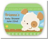 Puppy Dog Tails Neutral - Personalized Baby Shower Rounded Corner Stickers