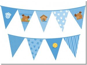Puppy Dog Tails Boy - Baby Shower Themed Pennant Set