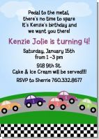 Race Car - Birthday Party Invitations
