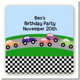 Race Car - Square Personalized Birthday Party Sticker Labels