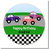Race Car - Round Personalized Birthday Party Sticker Labels