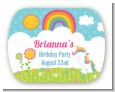 Rainbow Unicorn - Personalized Birthday Party Rounded Corner Stickers thumbnail