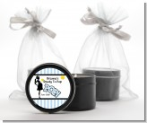 Ready To Pop Blue - Baby Shower Black Candle Tin Favors