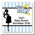 Ready To Pop Blue - Square Personalized Baby Shower Sticker Labels thumbnail