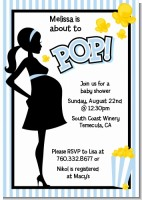 Ready To Pop Blue - Baby Shower Invitations