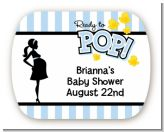 Ready To Pop Blue - Personalized Baby Shower Rounded Corner Stickers