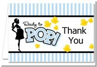Ready To Pop Blue - Baby Shower Thank You Cards