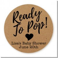 Ready To Pop Brown - Round Personalized Baby Shower Sticker Labels