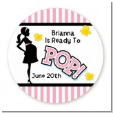 Ready To Pop Pink - Round Personalized Baby Shower Sticker Labels