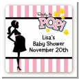 Ready To Pop Pink - Square Personalized Baby Shower Sticker Labels thumbnail