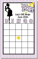 Ready To Pop Purple - Baby Shower Gift Bingo Game Card