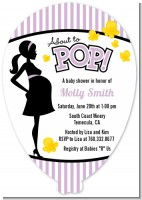 Ready To Pop Purple - Baby Shower Shaped Invitations