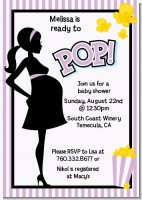 Ready To Pop Purple - Baby Shower Invitations