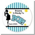 Ready To Pop Teal - Round Personalized Baby Shower Sticker Labels thumbnail