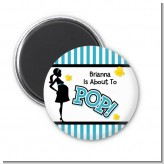 Ready To Pop Teal - Personalized Baby Shower Magnet Favors