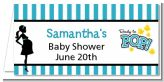 Ready To Pop Teal - Personalized Baby Shower Place Cards