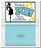Ready To Pop Teal - Personalized Popcorn Wrapper Baby Shower Favors
