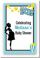 Ready To Pop Teal - Custom Large Rectangle Baby Shower Sticker/Labels
