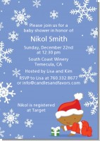 Christmas Baby Snowflakes African American - Baby Shower Invitations