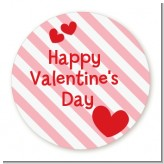 Red Hearts - Round Personalized Valentines Day Sticker Labels
