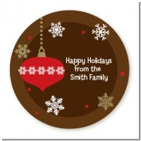 Retro Ornaments - Round Personalized Christmas Sticker Labels