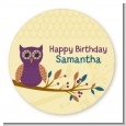 Retro Owl - Round Personalized Birthday Party Sticker Labels thumbnail