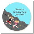Rock Climbing - Round Personalized Birthday Party Sticker Labels thumbnail