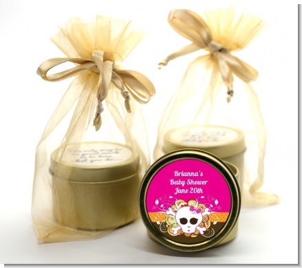 Rock Star Baby Girl Skull - Baby Shower Gold Tin Candle Favors