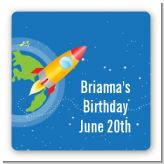 Rocket Ship - Square Personalized Birthday Party Sticker Labels