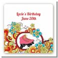 Roller Skating - Square Personalized Birthday Party Sticker Labels thumbnail