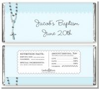 Rosary Beads Blue - Personalized Baptism / Christening Candy Bar Wrappers