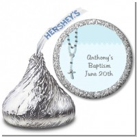 Rosary Beads Blue - Hershey Kiss Baptism / Christening Sticker Labels